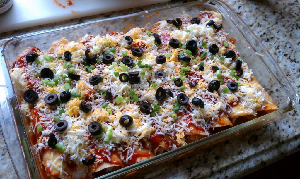 Easy Cheese Enchiladas before going in the oven