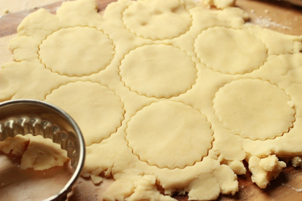 cutting out shortbread cookies